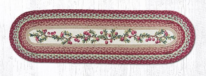 "Cranberries Oval Braided Runner 13""x48"""