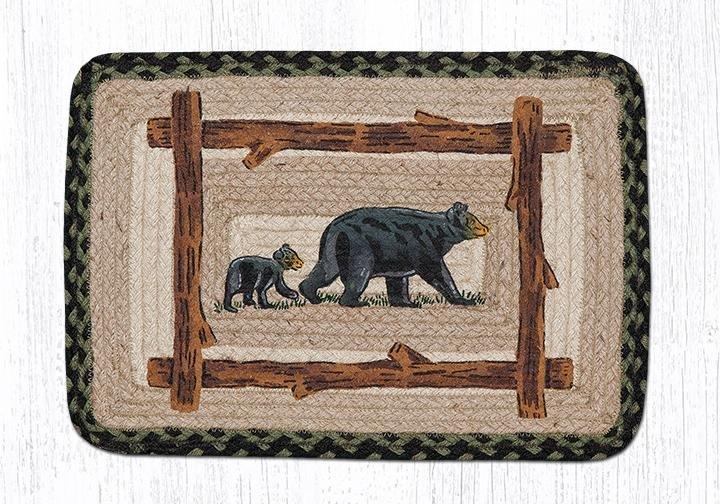 "Mama & Baby Bear Rectangular Printed Braided Table Runner 13""x36"""