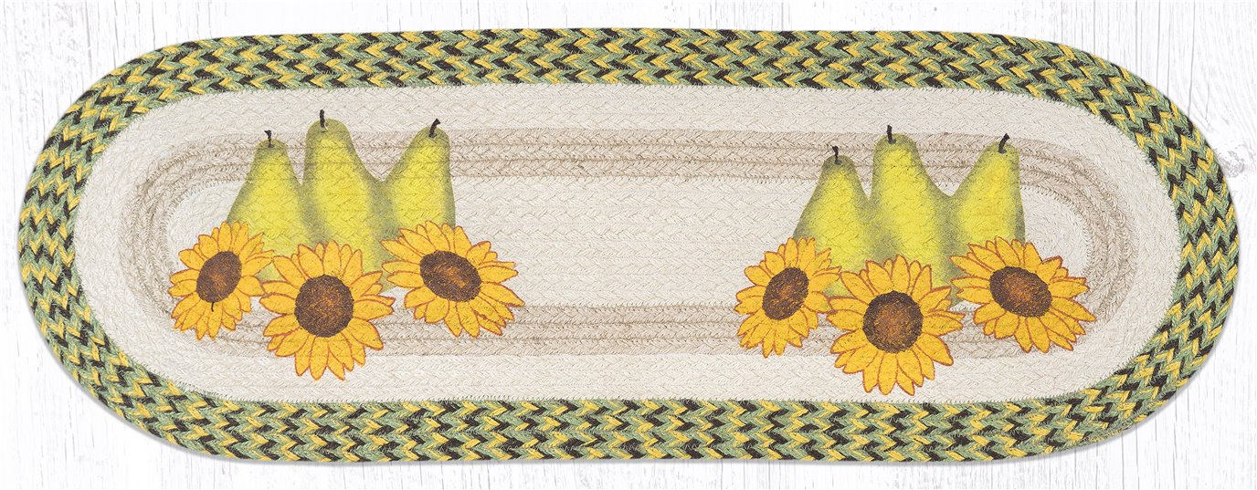 """Pears & Sunflowers Oval Braided Table Runner 13""""x36"""""""