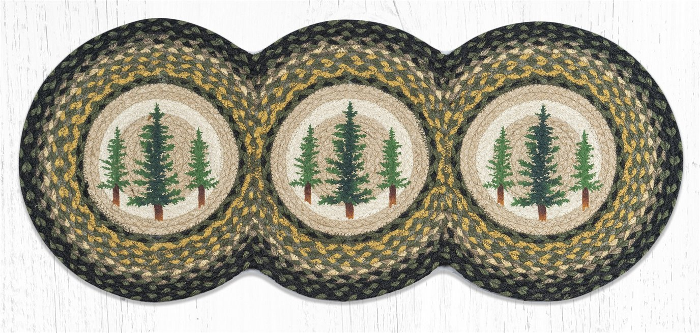 "Tall Timbers Printed Braided Tri Circle Runner 15""x36"""