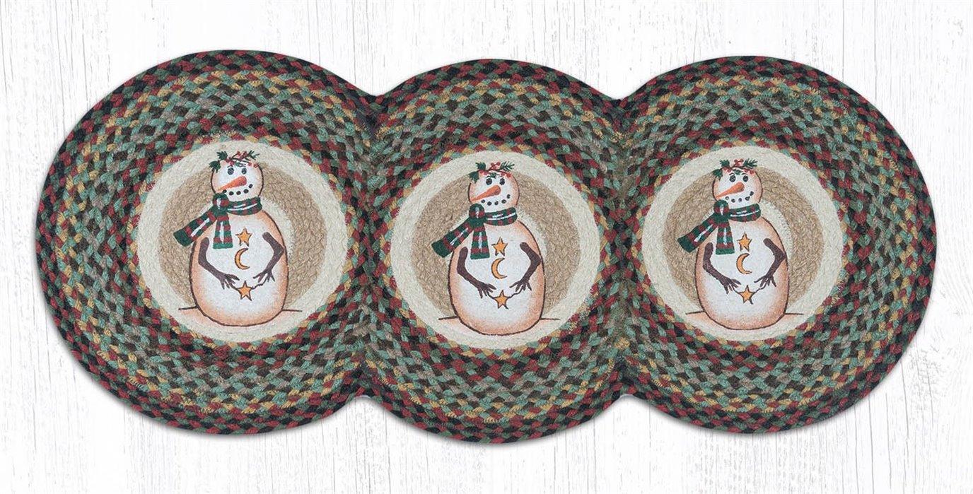 """Moon & Star Snowman Printed Braided Tri Circle Runner 15""""x36"""""""