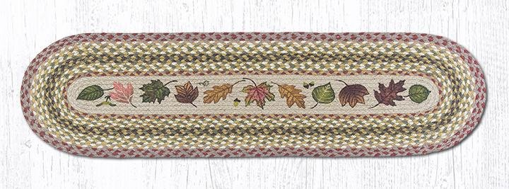 "Autumn Leaves Oval Braided Runner 13""x48"""