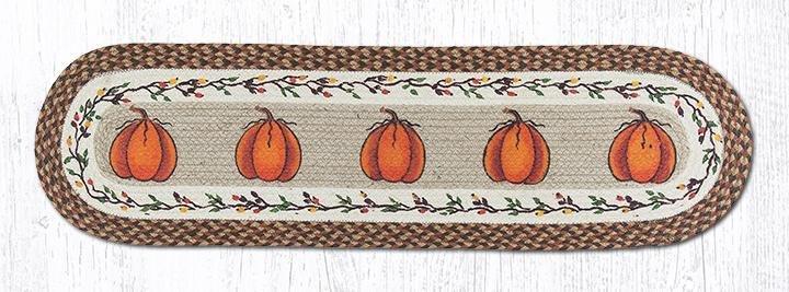 "Harvest Pumpkin Oval Braided Runner 13""x48"""