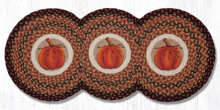 """Harvest Pumpkin Printed Braided Tri Circle Runner 15""""x36"""""""