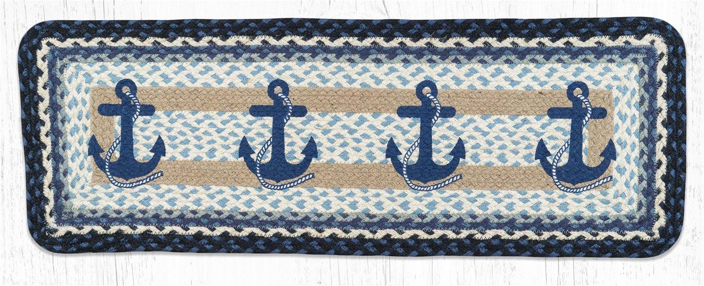 "Navy Anchor Rectangular Printed Braided Table Runner 13""x36"""