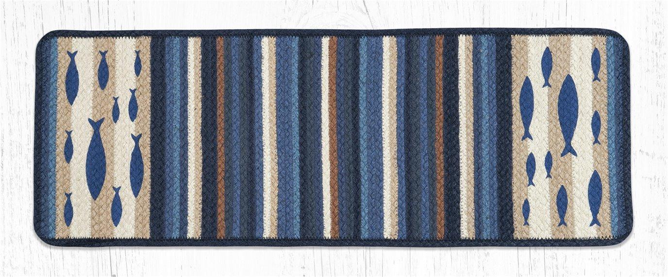 "Fish Rectangular Printed Braided Table Runner 13""x36"""