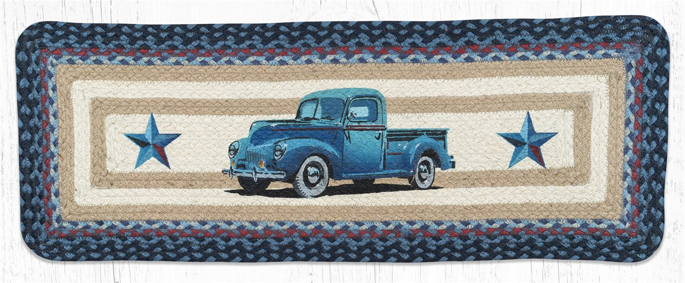 "Blue Truck Rectangular Printed Braided Table Runner 13""x36"""