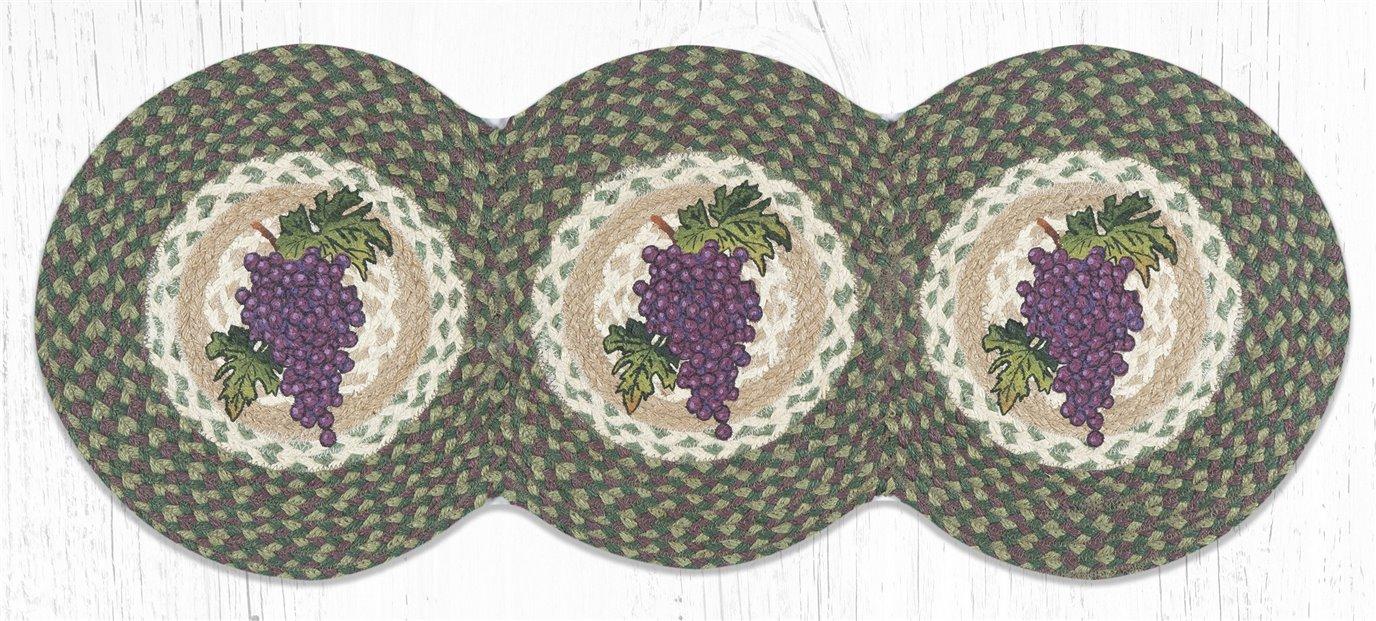 "Grapes Printed Braided Tri Circle Runner 15""x36"""