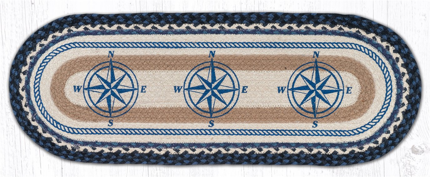 "Compass Oval Braided Table Runner 13""x36"""