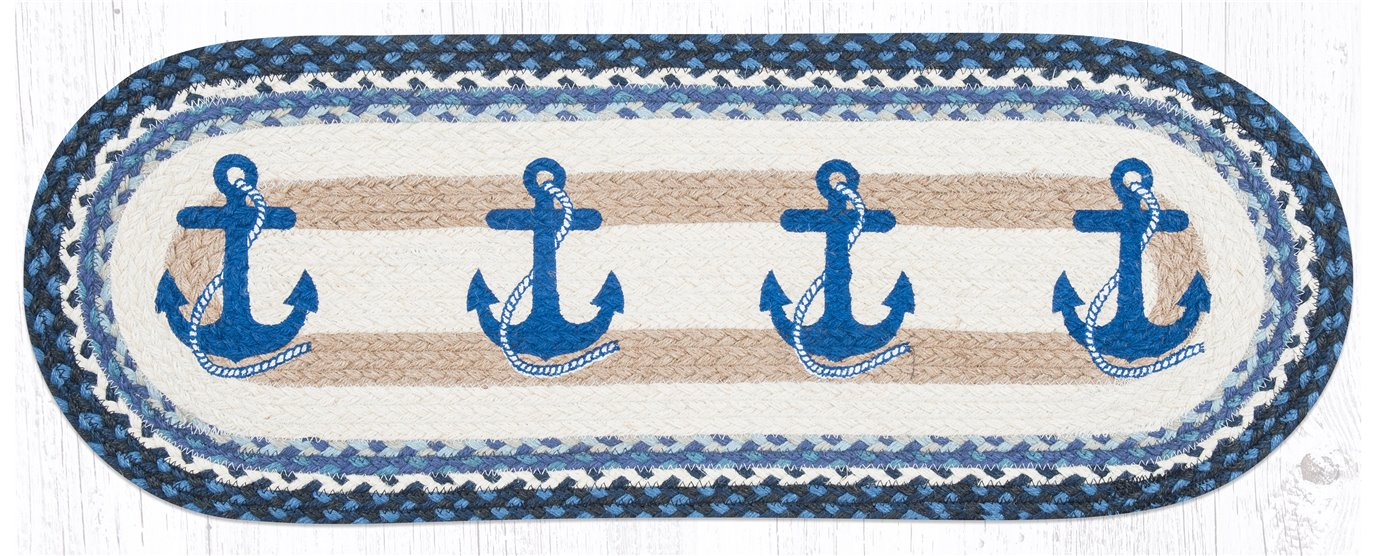 "Navy Anchor Oval Braided Table Runner 13""x36"""