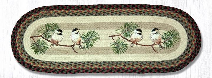 "Chickadee Oval Braided Table Runner 13""x36"""