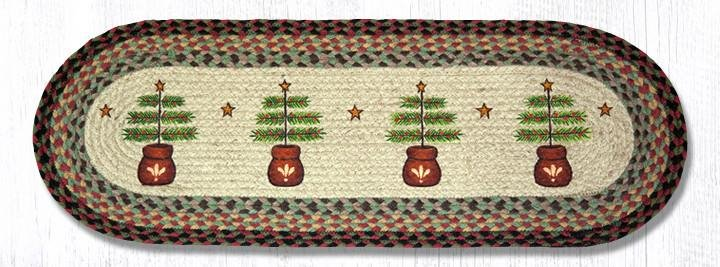 "Feather Tree Oval Braided Table Runner 13""x36"""