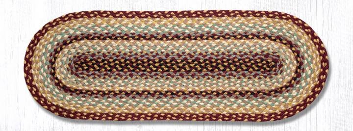 "Burgundy/Gray/Cream Jute Braided Table Runner 13""x36"""