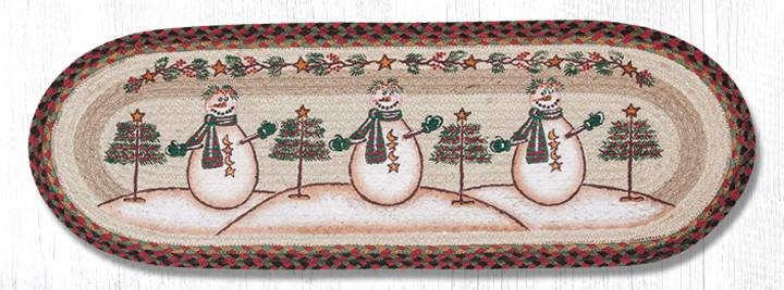 "Moon & Star Snowman Oval PBraided Table Runner 13""x36"""