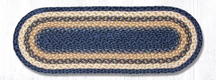 "Lt. Blue/Dk. Blue/Mustard Jute Braided Table Runner 13""x36"""