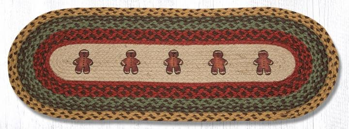 "Gingerbread Man Oval Braided Table Runner 13""x36"""