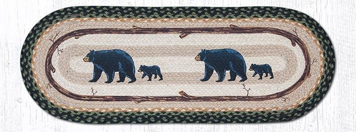 "Mama & Baby Bear Oval Braided Table Runner 13""x36"""