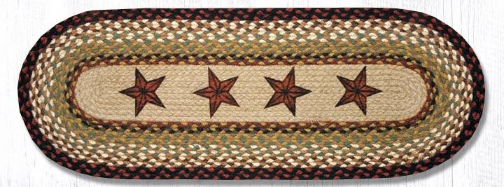 "Barn Stars Oval Braided Table Runner 13""x36"""