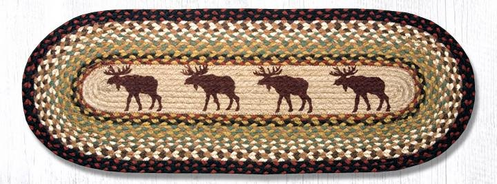 "Moose Oval Braided Table Runner 13""x36"""