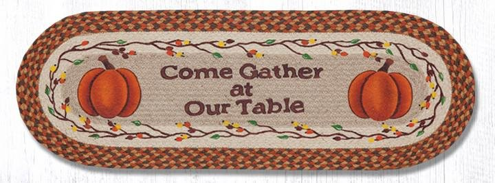 """Come Gather at Our Braided Table Oval Braided Table Runner 13""""x36"""""""