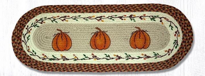 "Harvest Pumpkin Oval Braided Table Runner 13""x36"""