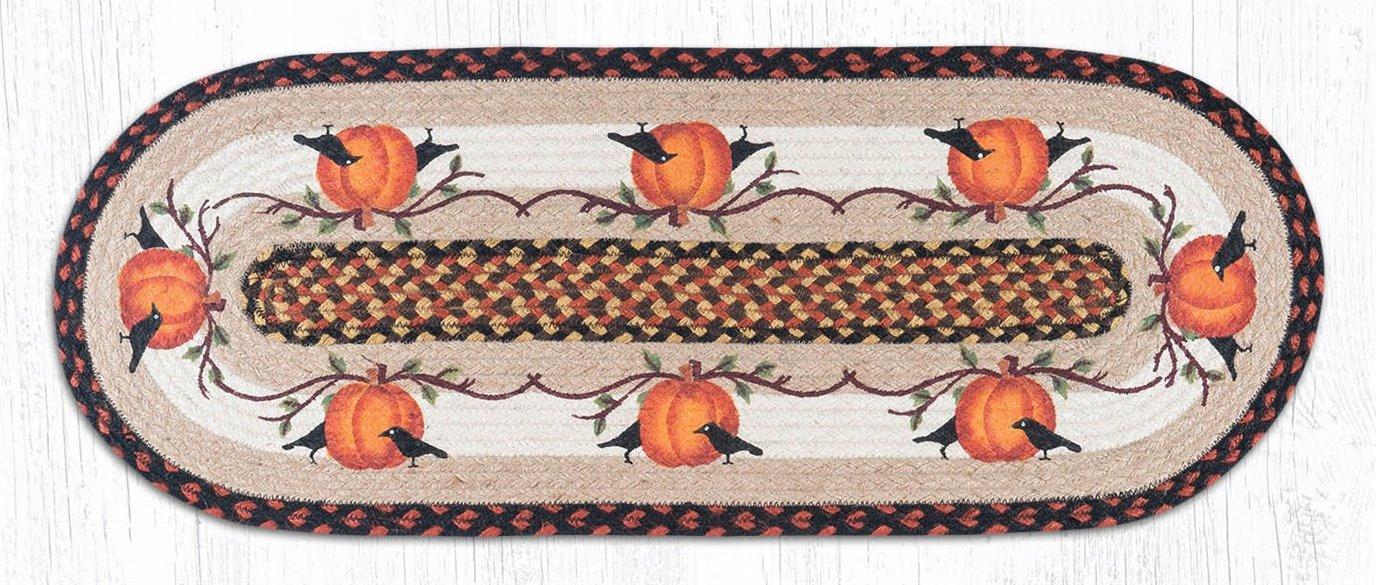 "Pumpkin Crow Oval Braided Table Runner 13""x36"""