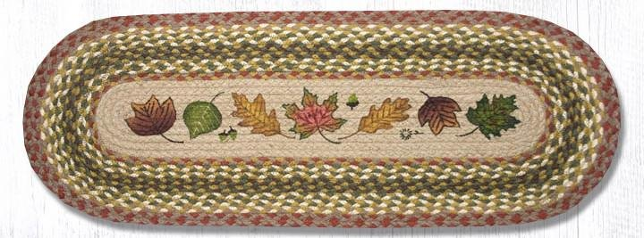 """Autumn Leaves Oval Braided Table Runner 13""""x36"""""""