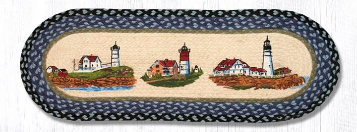 """Three Lighthouses Oval Braided Table Runner 13""""x36"""""""