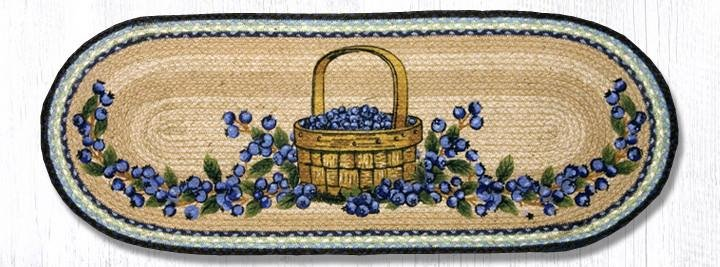 "Blueberry Basket Oval Braided Table Runner 13""x36"""