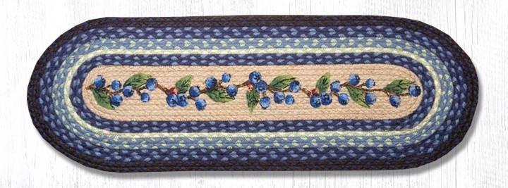 """Blueberry Vine Oval Braided Table Runner 13""""x36"""""""