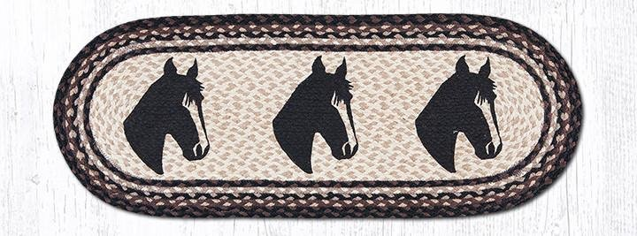 """Horse Portrait Oval Braided Table Runner 13""""x36"""""""