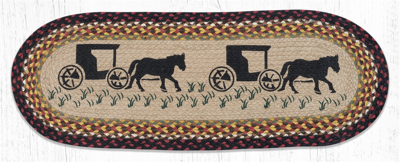 """Amish Buggy Oval Braided Table Runner 13""""x36"""""""