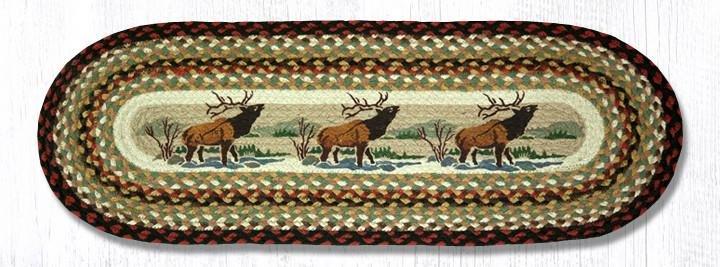 """Winter Elk Oval Braided Table Runner 13""""x36"""""""