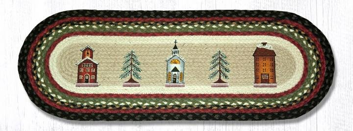 """Winter Village Oval Braided Table Runner 13""""x36"""""""