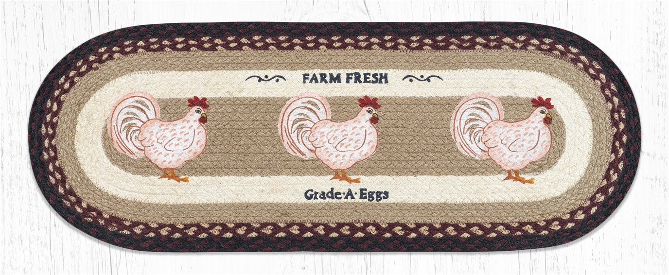 "Farmhouse Chicken Oval Braided Table Runner 13""x36"""