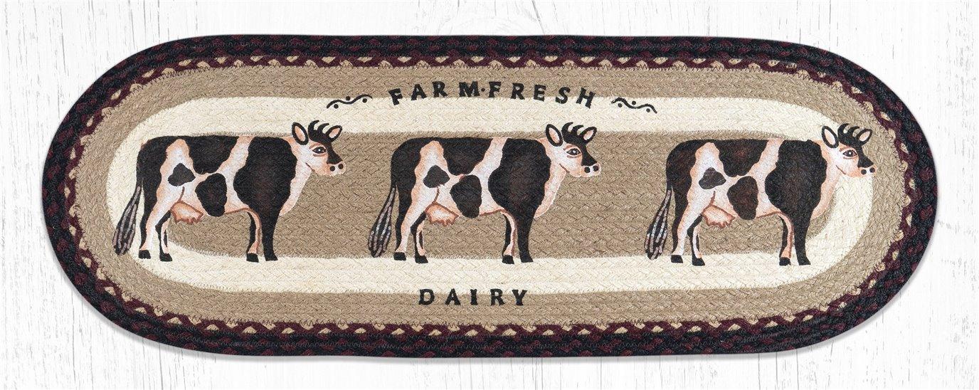 """Farmhouse Cow Oval Braided Table Runner 13""""x36"""""""