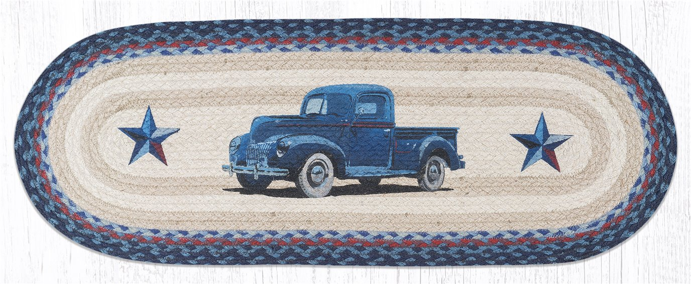 "Blue Truck Oval Braided Table Runner 13""x36"""