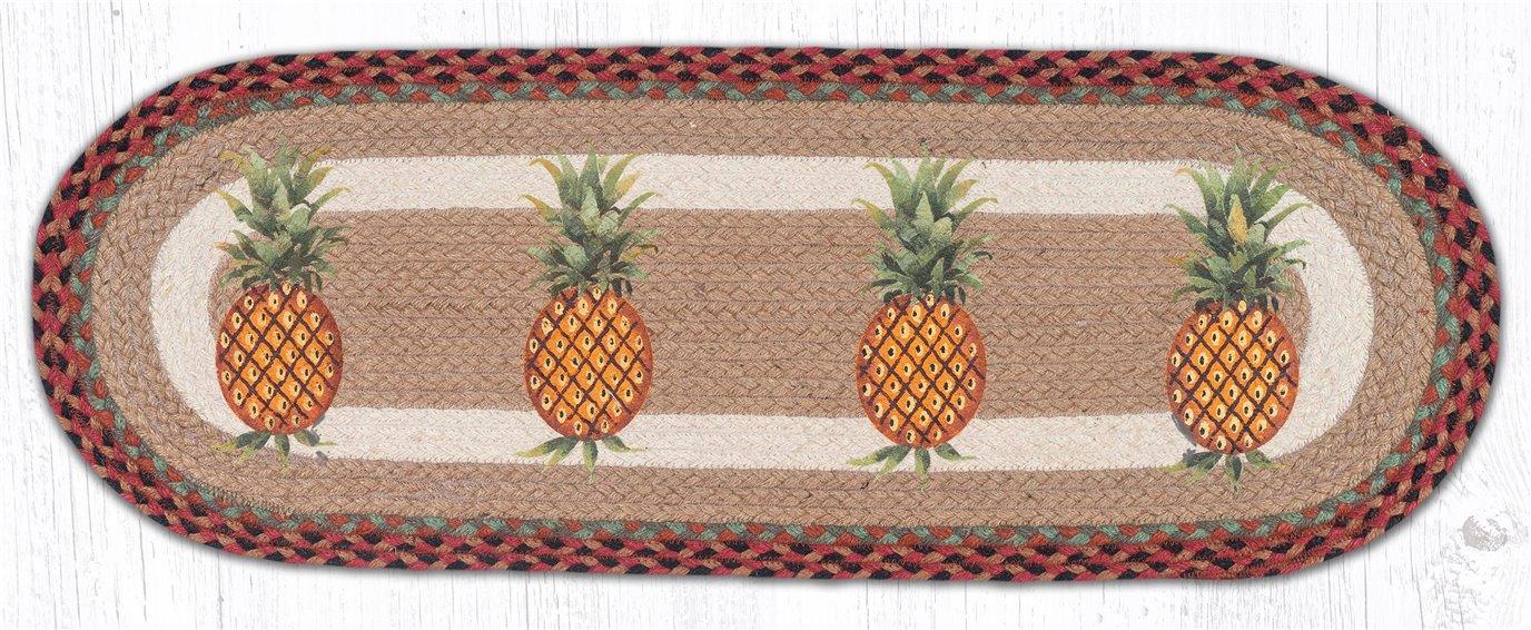 "Pineapple Oval Braided Table Runner 13""x36"""