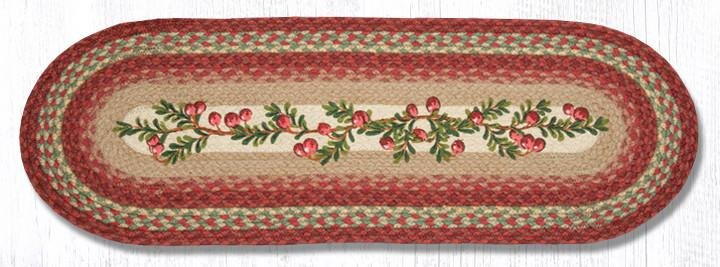 """Cranberries Oval Braided Table Runner 13""""x36"""""""