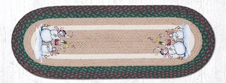"Birdhouse Snowman Oval Braided Table Runner 13""x36"""