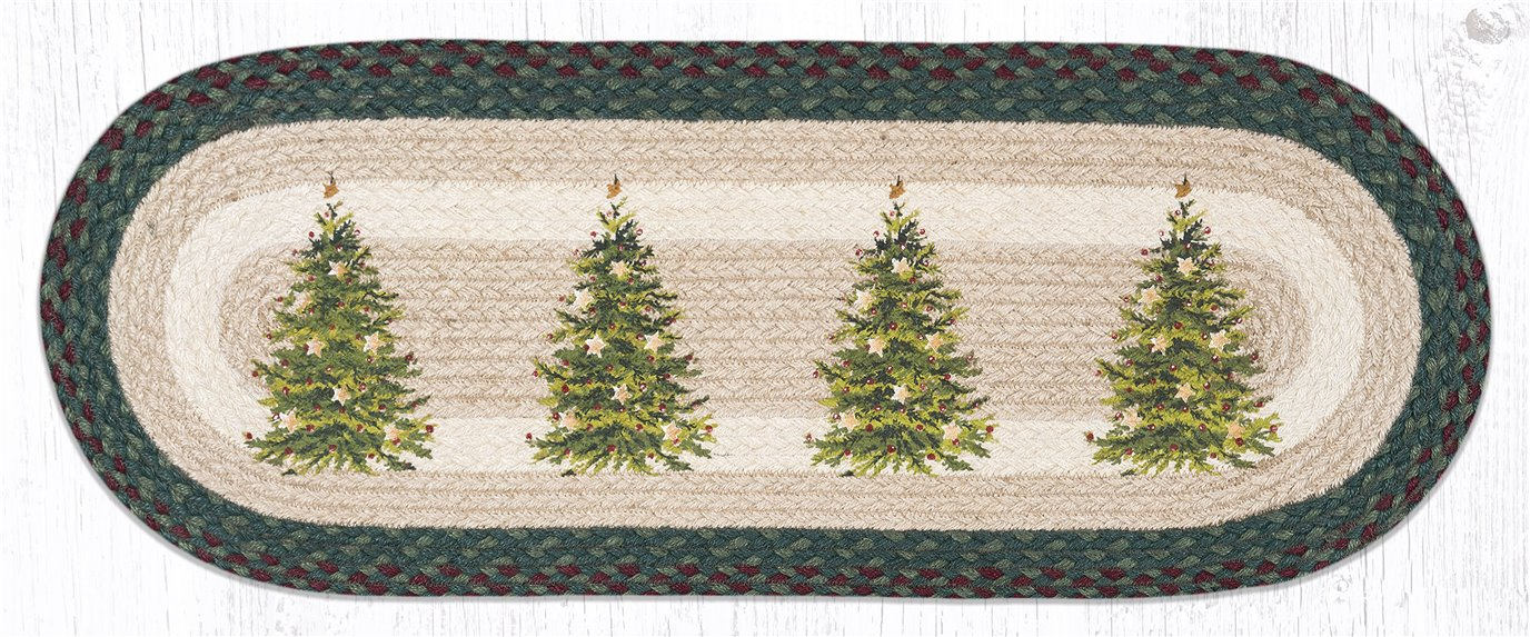 """Christmas Tree Oval Braided Table Runner 13""""x36"""""""