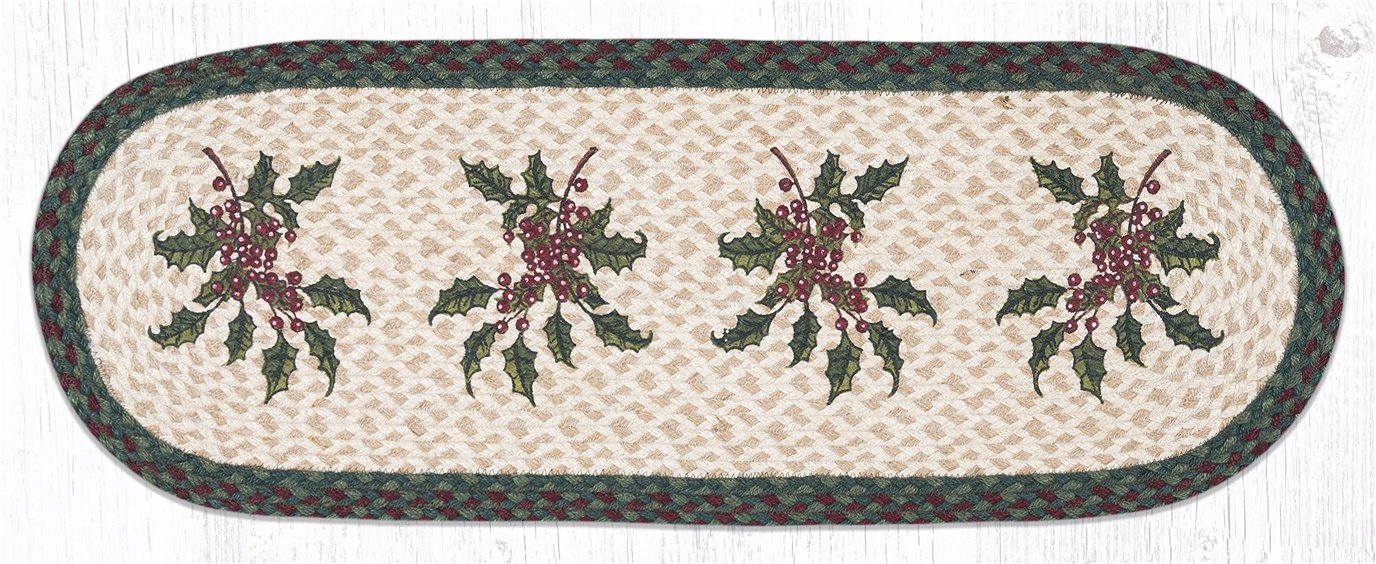 """Holly Oval Braided Table Runner 13""""x36"""""""