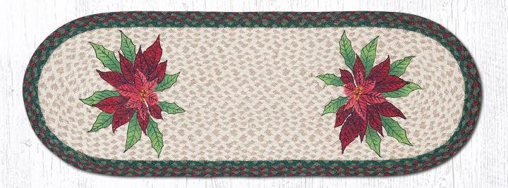 "Poinsettias Oval Braided Table Runner 13""x36"""
