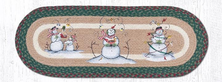 "Snowmen Oval Braided Table Runner 13""x36"""