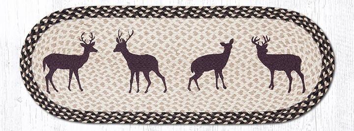 "Deer Silhouette Oval Braided Table Runner 13""x36"""