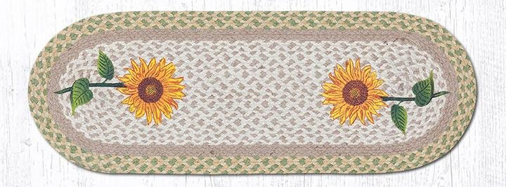 "Tall Sunflowers Oval Braided Table Runner 13""x36"""