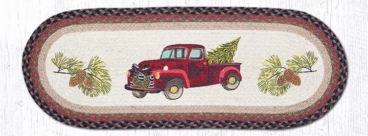 "Christmas Truck Oval Braided Table Runner 13""x36"""