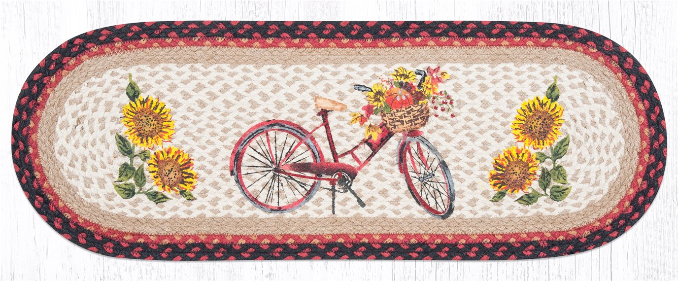 """Red Bicycle Oval Braided Table Runner 13""""x36"""""""