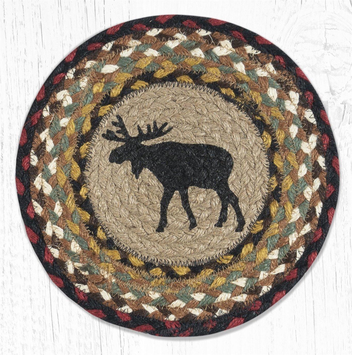 """Black Moose Printed Round Braided Trivet 10""""x10"""""""