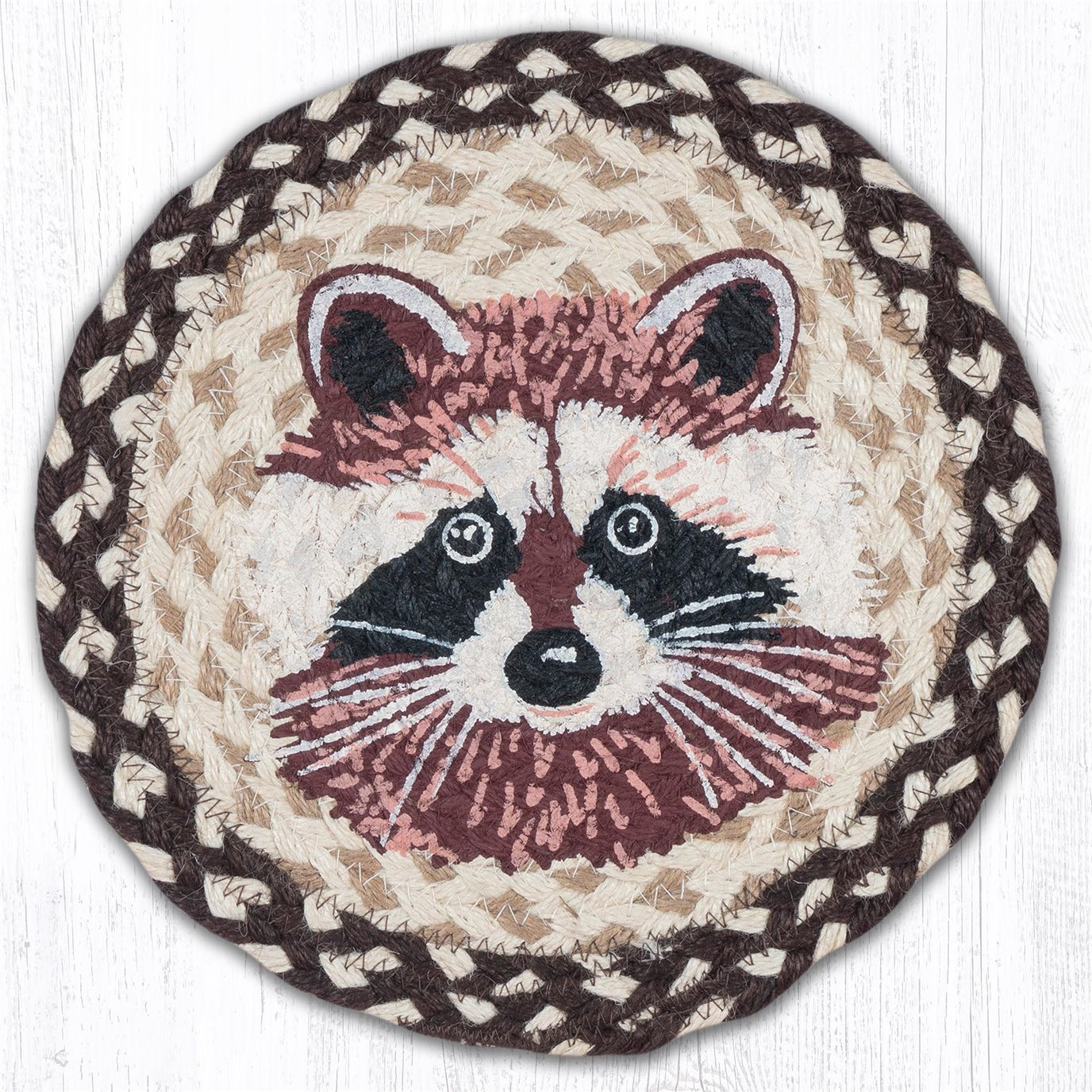 "Raccoon Printed Round Braided Trivet 10""x10"""
